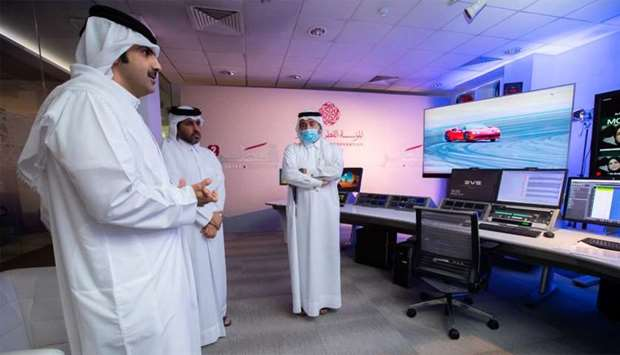 HE Sheikh Abdulrahman reviewing the progress of the last touches before the channel is launched on T