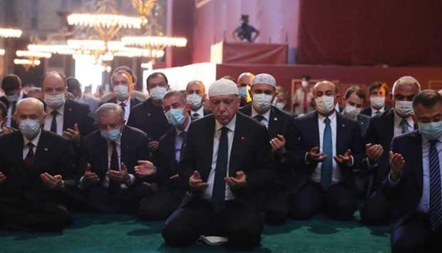 Turkish President Tayyip Erdogan and invited guests attending Friday prayers at Hagia Sophia Grand M
