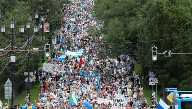 People take part in a rally in support of governor Sergei Furgal in Khabarovsk