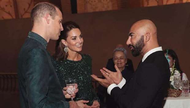 ROYAL MEETING: Hassan with Duke and Duchess of Cambridge, Prince William and Kate Middleton, during