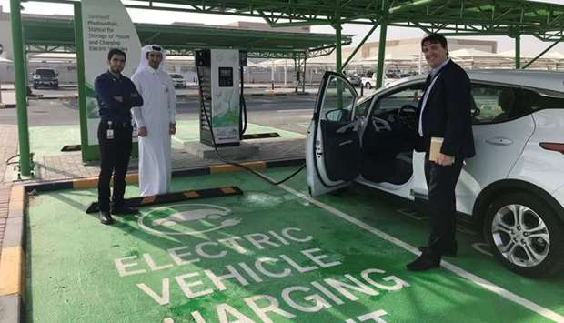 An EV charging station in Qatar.