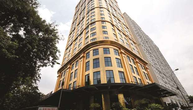 A view of the newly-inaugurated Dolce Hanoi Golden Lake hotel, in Hanoi yesterday.