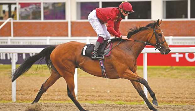 Rob Hornby rides Afraid Of Nothing to British EBF Fillies' Handicap victory at Chelmsford, United Ki