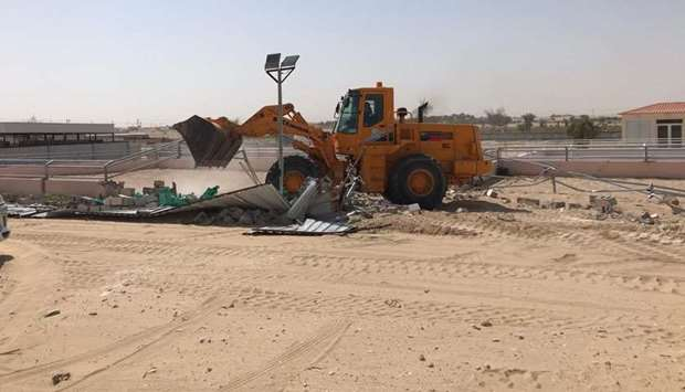Removal of encroachments in Doha, Al Sheehaniya municipalities