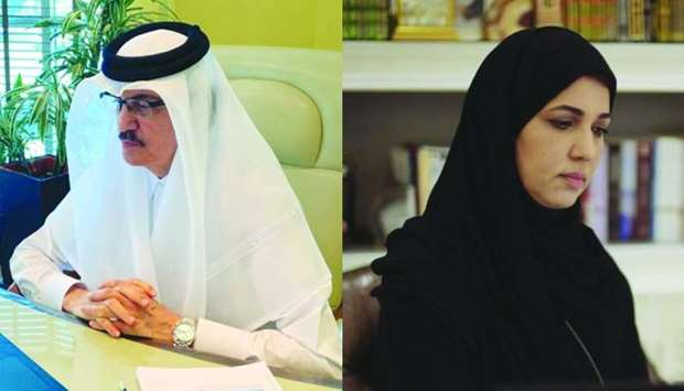 Ismael bin Mohamed al-Emadi and Dr Hind bint Abdulrahman al-Muftah taking part in the meeting.