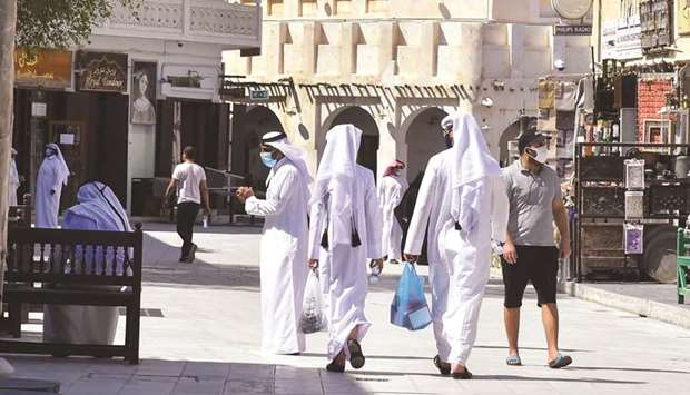 People visiting Souq Waqif in Doha following the phased gradual relaxation of Covid-19 restrictions.
