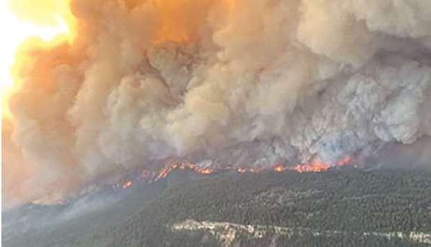 This handout photo courtesy of BC Wildfire Service shows the Sparks Lake wildfire in British Columbi