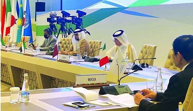 HE the Minister of State for Foreign Affairs Sultan bin Saad al-Muraikhi speaking at the Central and