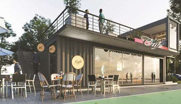 Artist's impression of a cafe, proposed as part of the Ras Bu Abboud Beach development project.