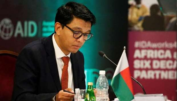 Madagascar's President Andry Rajoelina attends a meeting to discuss the 20th replenishment of the Wo