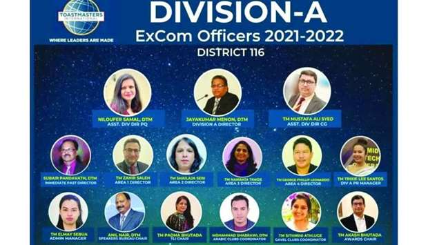 Division A of Toastmasters International, District 116 introduced its newly elected executive commit