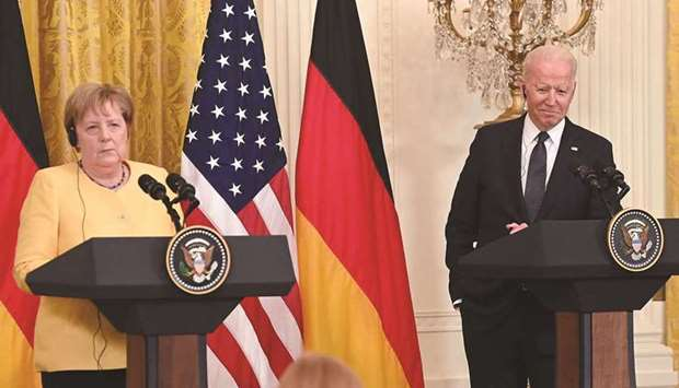 In this file photo US President Joe Biden and German Chancellor Angela Merkel hold a joint press con