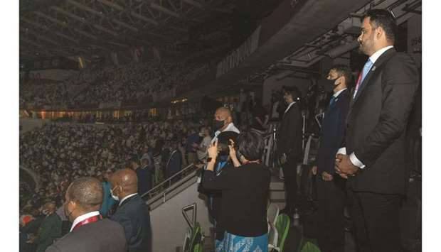 Qatar Olympic Committee President HE Sheikh Joaan bin Hamad al-Thani attends the opening ceremony of
