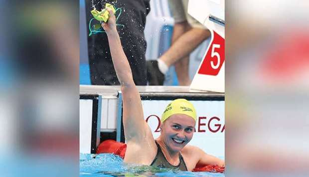 Ariarne Titmus of Australia celebrates after winning the women's 400m freestyle final at the Tokyo A