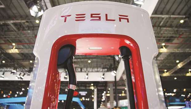 A Tesla charging station is pictured during the media day for the Shanghai Auto Show (file). Excludi