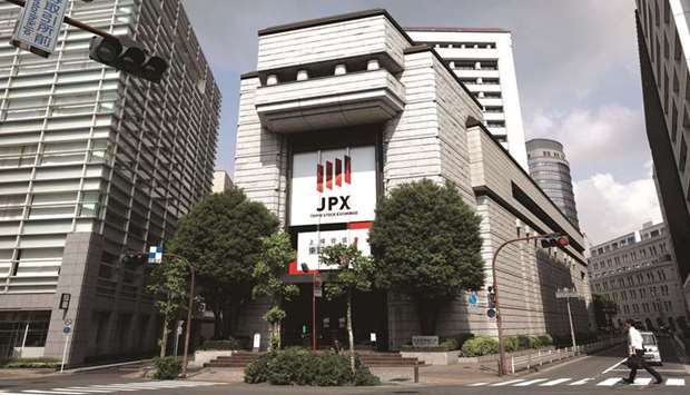 An external view of the Tokyo Stock Exchange. The Nikkei 225 closed down 1.4% to 27,581.66 points ye