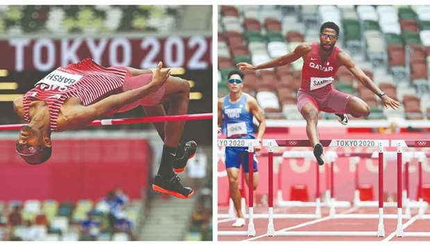 Qatar's Mutaz Barshim in action during the high jump qualification at the Olympic Stadium in Tokyo,