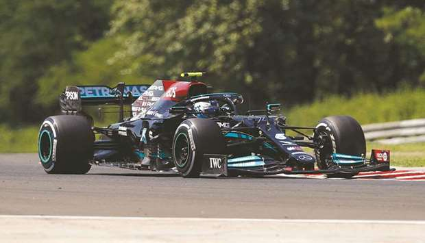 Mercedes' Valtteri Bottas in action during Hungarian Grand Prix practice in Budapest yesterday. (Reu