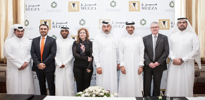 Msheireb Properties and Meeza officials at the signing ceremony.