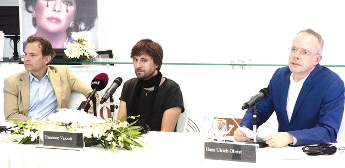 Francesco Vezzoli (centre) along with others at the press conference at Katara yesterday