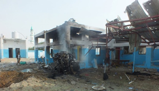 The scene after a hospital in Abs district in the northern province of Hajja, Yemen, hit by Saudi-le