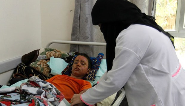 A Yemeni child who was wounded during last week's reported Saudi-led air strikes near the capital Sa