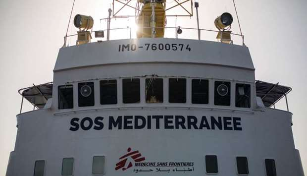 "The Aquarius rescue ship of the European search and rescue association ""SOS Mediterranee""."