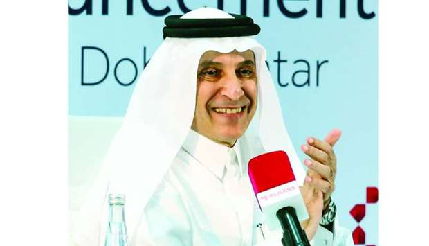 Qatar Airways Chief Executive Officer Akbar al-Baker speaking at the press conference