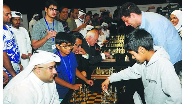 12-year-old Essa playing against QTA's al-Ibrahim. PICTURE: Shemeer Rasheed