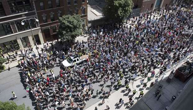 Counter-Protesters of the Boston 'Free Speech' Rally march towards Boston Commons