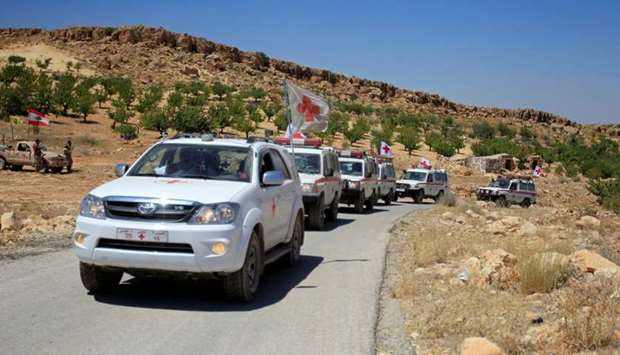 A Lebanese Red Cross convoy is seen in Jroud Arsal, near Syria-Lebanon border