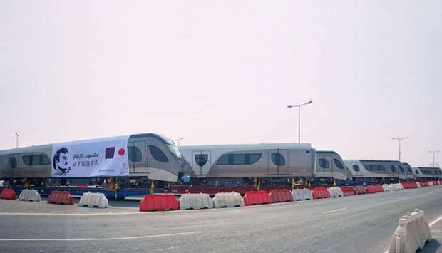 The first batch of the four Doha Metro trains at Hamad Port.