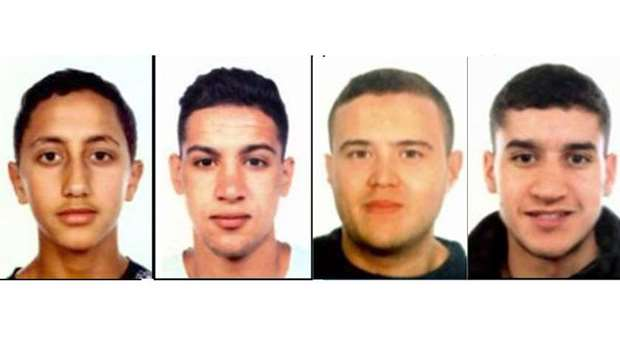four suspects of the Barcelona and Cambrils attacks, (from L) Moussa Oukabir, Said Aallaa, Mohamed H