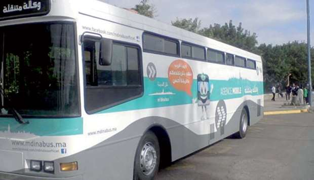 A public transport bus operated by M'Dina Bus company