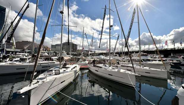 Yachts are moored at the Sydney International Boat Show in Darling Harbour in Sydney