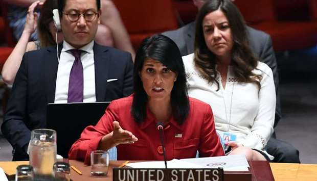 US Ambassador to the United Nations Nikki Haley speaks during a Security Council meeting on North Ko