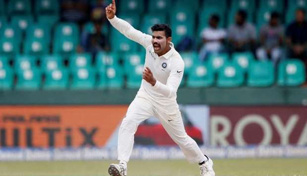 India's Ravindra Jadeja in action during the fourth day of the second Test match between Sri Lanka a