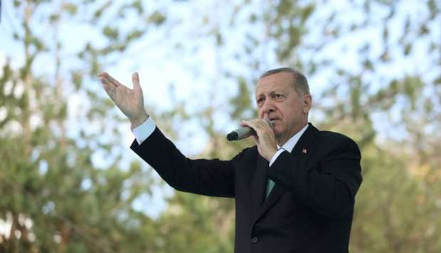Turkish President Tayyip Erdogan addresses his supporters in Bayburt