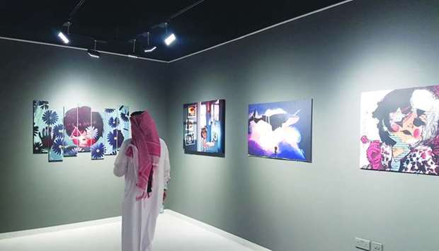 Several paintings and art installations by six Qatari artists showcased at Building 19. PICTURE: Joe