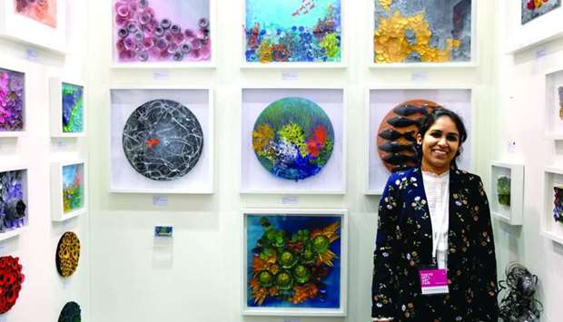 Swapna Namboodiri with her artworks during the 'Tokyo International Art Fair 2018'