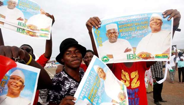 Supporters of Ibrahim Boubacar Keita, President of Mali and candidate for Rally for Mali party (RPM)