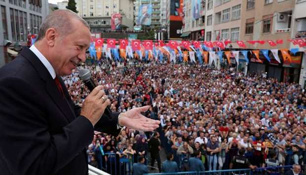 Turkish President Tayyip Erdogan addresses his supporters in Rize, Turkey