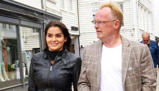 Fisheries Minister Per Sandberg (right) and Bahareh Letnes