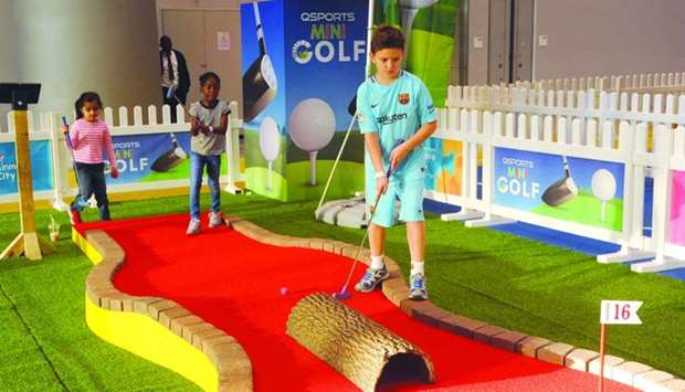 Mini golf is a big hit among kids and adults.