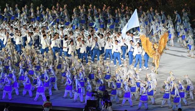 The Unified Korea delegation parades during the opening ceremony of the 2018 Asian Games