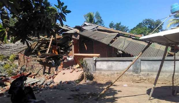 A badly damaged house in Mataram on Indonesia's Lombok island