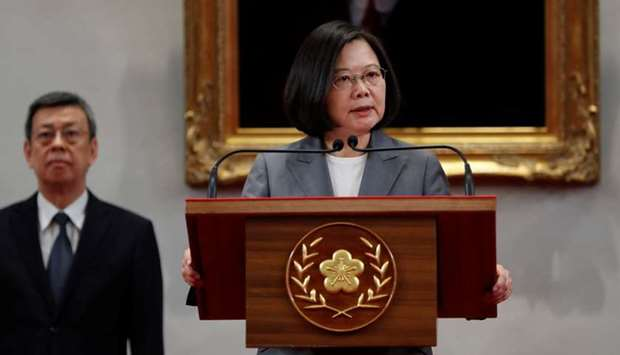 President Tsai Ing-wen speaks to the media, after El Salvador ended diplomatic relations with Taiwan