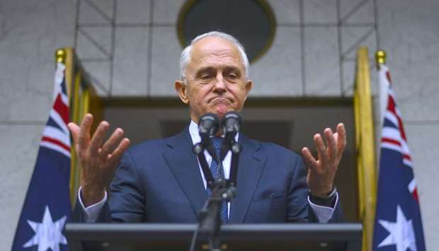 Australian Prime Minister Malcolm Turnbull reacts during a media conference at Parliament House in C