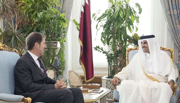 His Highness the Amir Sheikh Tamim bin Hamad al-Thani meets with the outgoing Canadian ambassador to