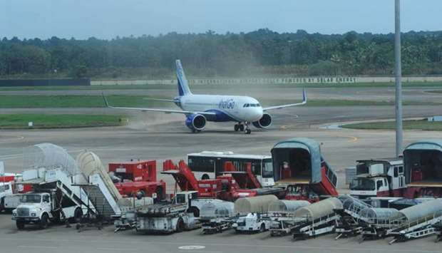 A plane is seen at the taxiway after landing at Kochi's International airport in the Indian state of